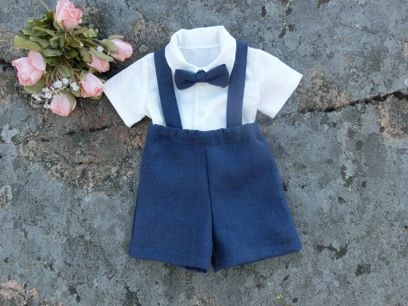 Ring bearer outfit navy Linen suspender suit boy Toddler boys image 0