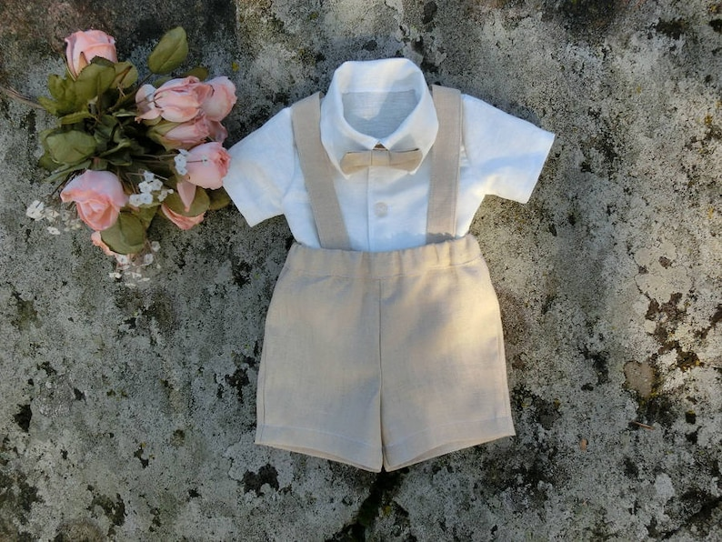 b39198105b Boys linen outfit beige suspender outfit Rustic ring bearer | Etsy
