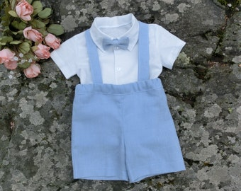 Boys suspender shorts, Light blue linen outfit, Baby ring bearer suit, Boys baptism outfit.