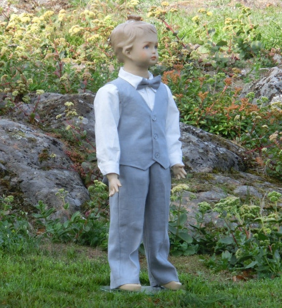 ec0ff9a56 Grey ring bearer outfit boys linen suit. Toddler boy wedding | Etsy