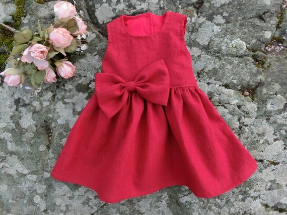 Kundschaft zuerst exquisiter Stil beste Wahl Baby mädchen Weihnachtskleid. Festliches baby kleid rot. Babys erstes  weihnachten kleidung. Rot Babykleid leinen