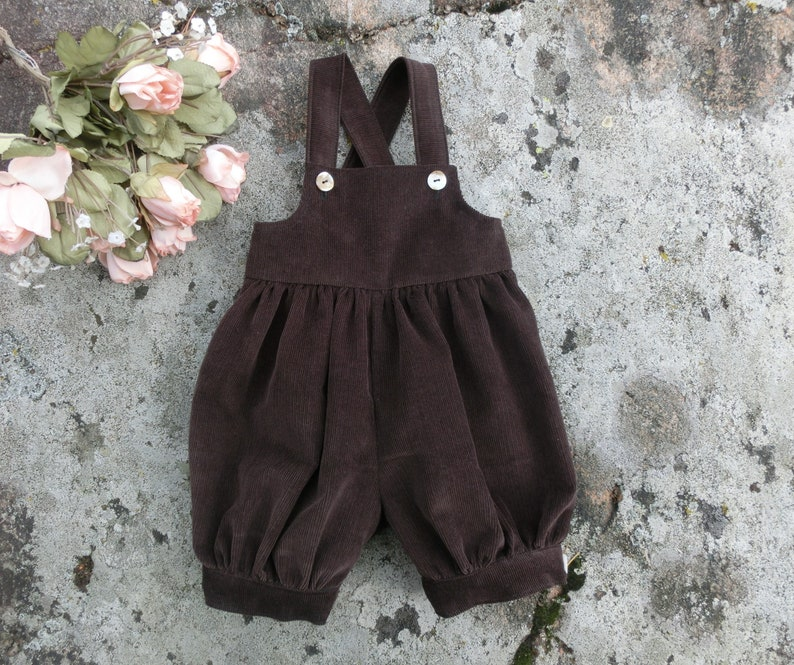 c336878a37992 Baby boys knickers with suspenders, Dark brown corduroy romper, Baby fall  overall, First birthday outfit boy.