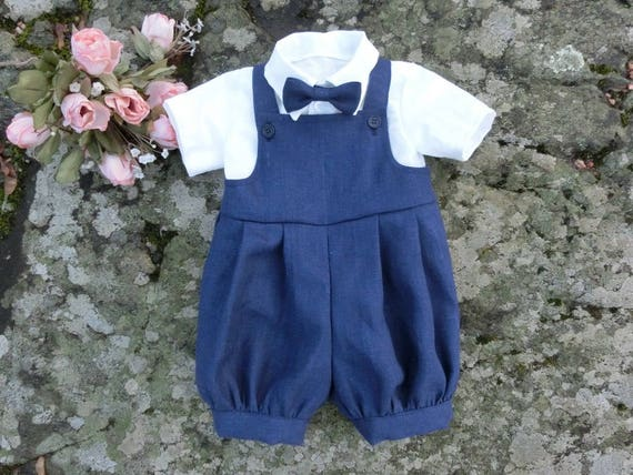 18b5d5c9d92c Baby navy blue linen romper first birthday outfit Baby boy