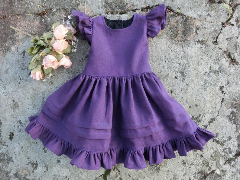 9b7fc287b61 Robe chasuble lin filles violet fleur fille robe rustique