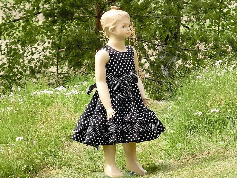 Toddler girls ruffle dress Black and white twirly girls dress Black polka dot flower girl dress Girls wedding party dress.