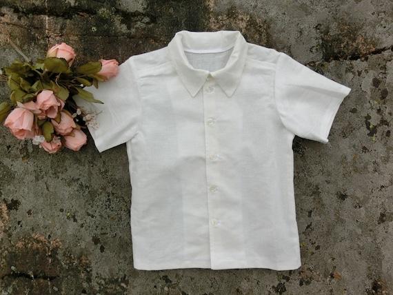 Boys short sleeved linen shirt Toddler boys linen shirt Boys wedding attire Toddler boys formal wear Boys linen clothing.