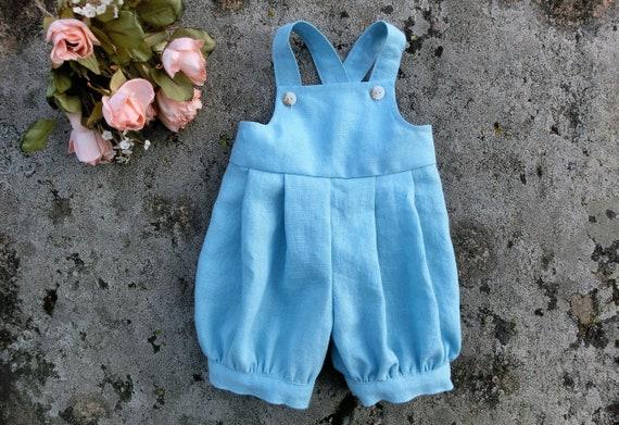 98fc870d8 Baby boy romper Blue linen romper Baby shower gift Boys play