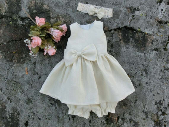 Leinen Taufe Kleid Taufe Outfit Baby Mädchen Widmung Kleid Baby Blume Mädchen Licht Beige Kleid Segen Outfit Namen Geben Outfit