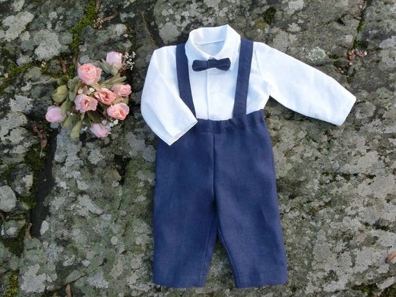 Navy suspender pants baby boy Rustic ring bearer linen outfit Baby boy blue wedding suit