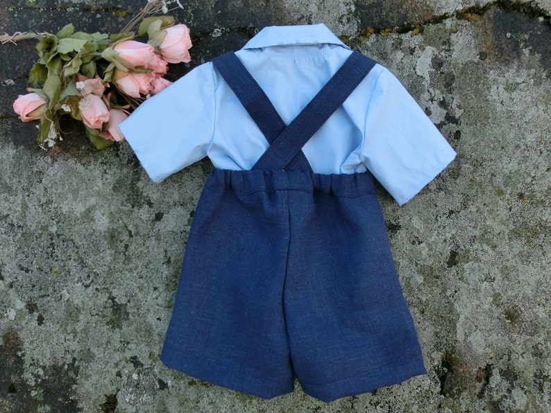 Baby wedding shorts outfit Nautical wedding boys linen suit Baby boy first birthday outfit Navy blue ring bearer suspender set