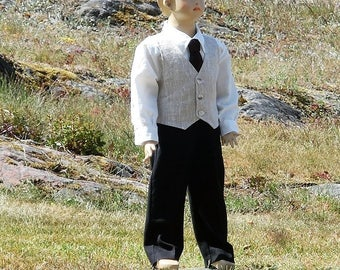 Special occasion boys linen suit, Ring bearer outfit, Boys formal wear, linen pants vest shirt and bow tie, Boys christmas outfit.