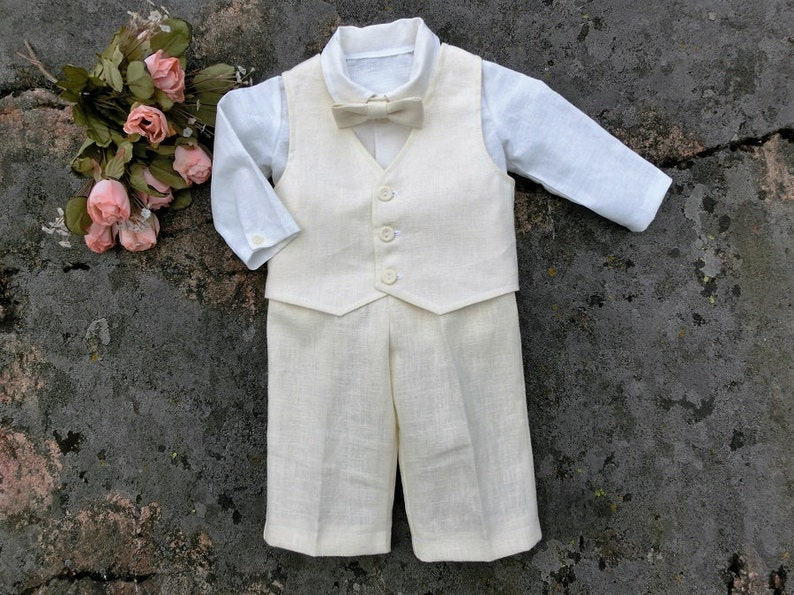 496ecef2660 Baby boy baptism outfit linen Christening outfit ivory baby