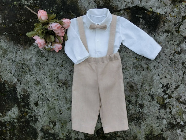 e6c708a59e Baby pants and suspenders ring bearer outfit Beige linen suit | Etsy