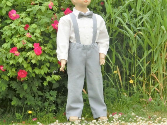 Boys suspender outfit, many colors Ring bearer linen outfit Rustic wedding suit Toddler special occasion