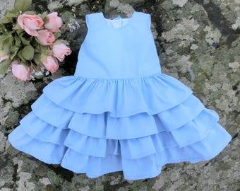 Light blue baby dress 1st birthday dress  Baby girl easter dress First birthday dress Girls ruffle dress Baby summer dress Baby cotton dress