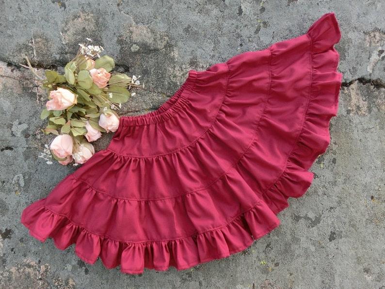 5cfeeb11bc6 Burgundy jopon de filles. Filles jupon en coton. Jupon rouge