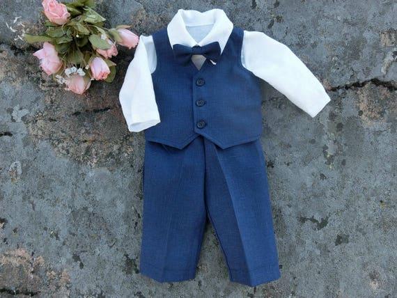 d249f912e Navy blue baby ring bearer outfit Baby nautical wedding linen