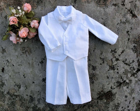 8f721a760 Baby boy wedding linen outfit Off white ring bearer suit   Etsy