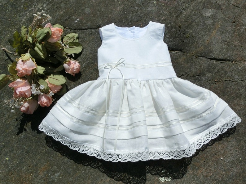 6df2a5fbe6c2 Linen christening gown baby Baptism dress Blessing off white