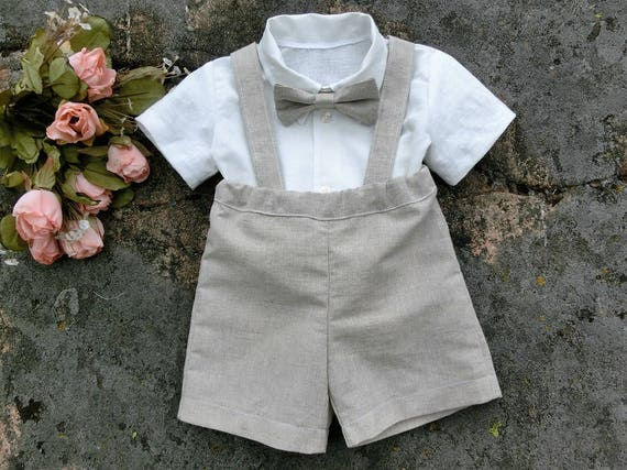bf29d3c01 Baby boy suspender shorts Ring bearer outfit Baby boy linen