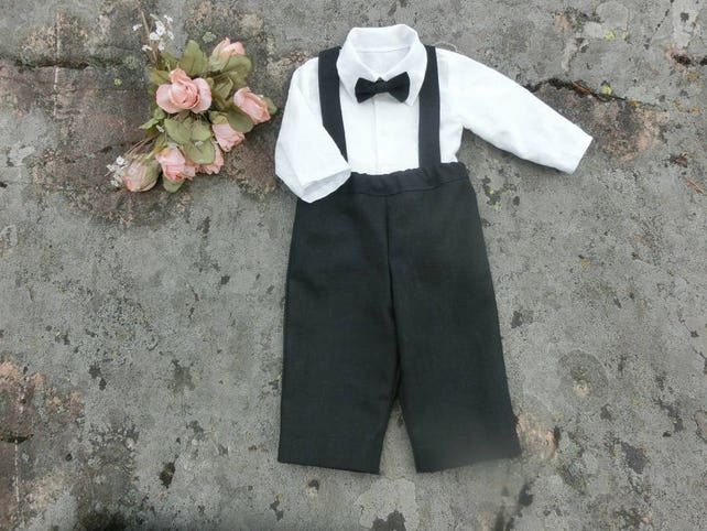 Baby boy wedding suit,black linen suspender pants Baby ring bearer outfit Baby formal wear Family photo