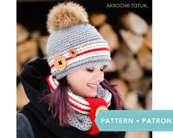 a3629e93501 Crochet work sock hat and cowl pattern by Akroche tatuk. (english and  french).