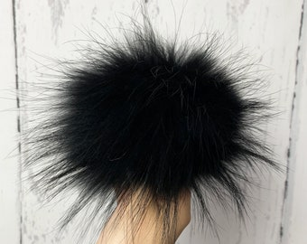 Black raccoon fur pompom for hat beanie