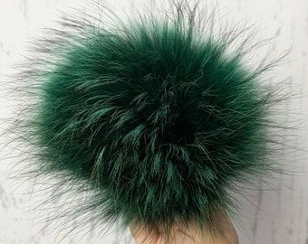 Dark green raccoon fur pompom for hat beanie