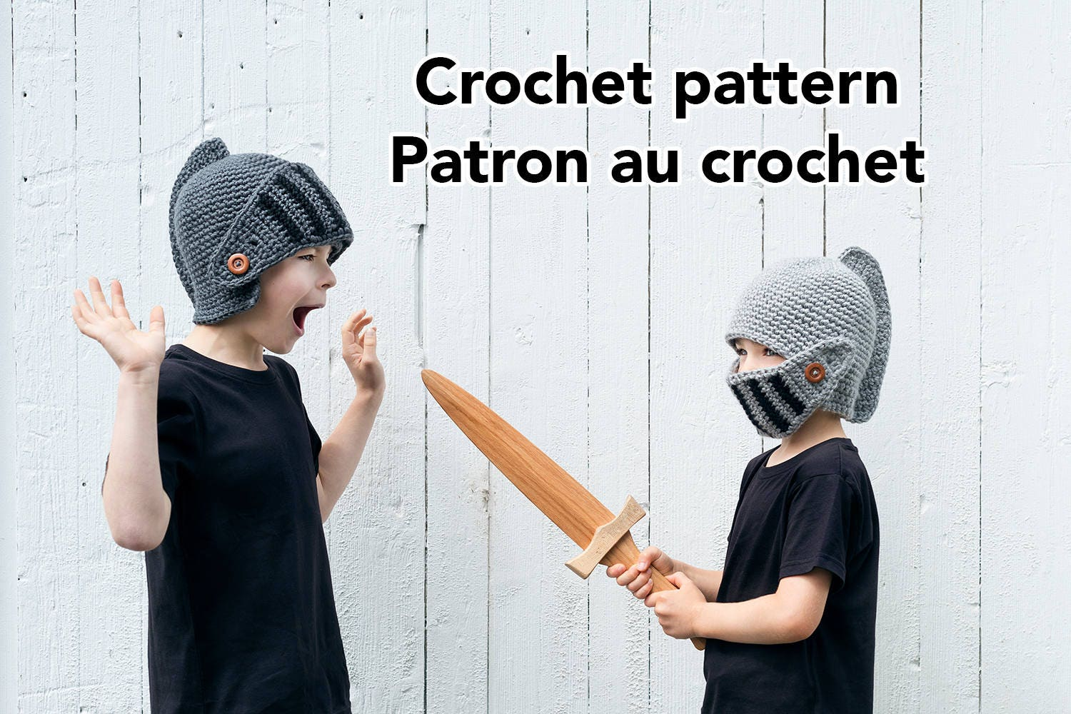 Knight helmet crochet hat pattern for winter in english and