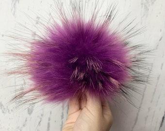 Lavender raccoon fur pompom for hat beanie