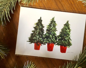 Three Pine Trees in Red Buckets Watercolor Art Print