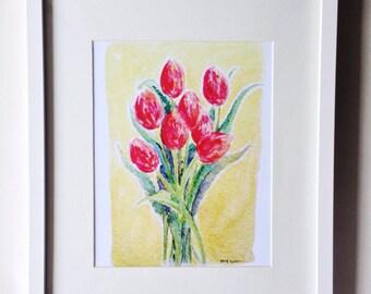 Pink Tulip Bunch Watercolor Art Print