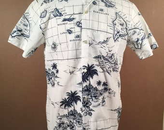 9de59382f0e53b 1960s Hawaiian Short Sleeve Collared Shirt by Kai Nani of Hawaii