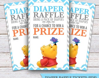 printable diaper raffle tickets winnie the pooh game diy etsy