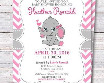 6f4c6aa3b Elephant Baby Shower Invitation - Pink Elephant Girl baby shower invite -  Pink and gray invite chevron - PRINTABLE