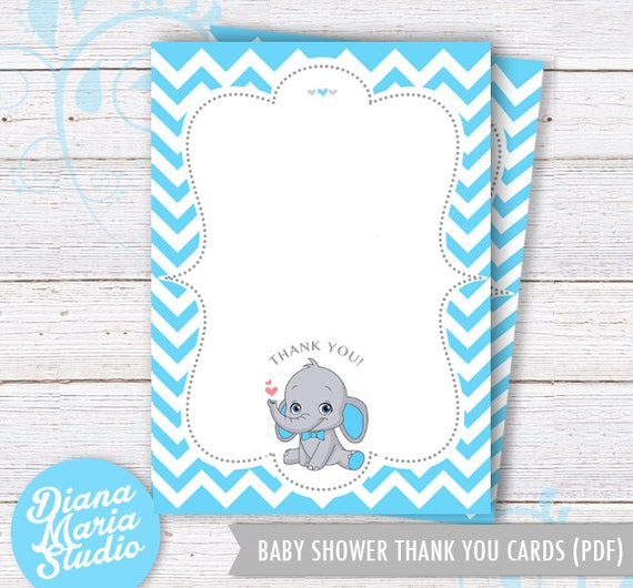Baby Shower Thank You Cards Baby Boy Party Elephant Blue Etsy
