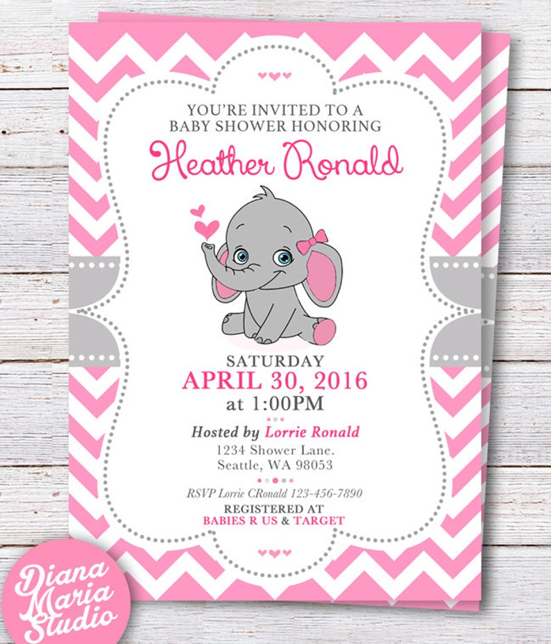 Elephant Baby Shower Invitation Pink Elephant Girl Baby Etsy