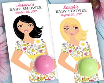 EOS Baby Shower Favors - Mom-to-be in flower dress - Printable Favor Tags  -Personalized Thank you favors