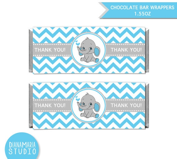 Chocolate Bar Wrappers Elephant Boy Baby Shower Printable Etsy