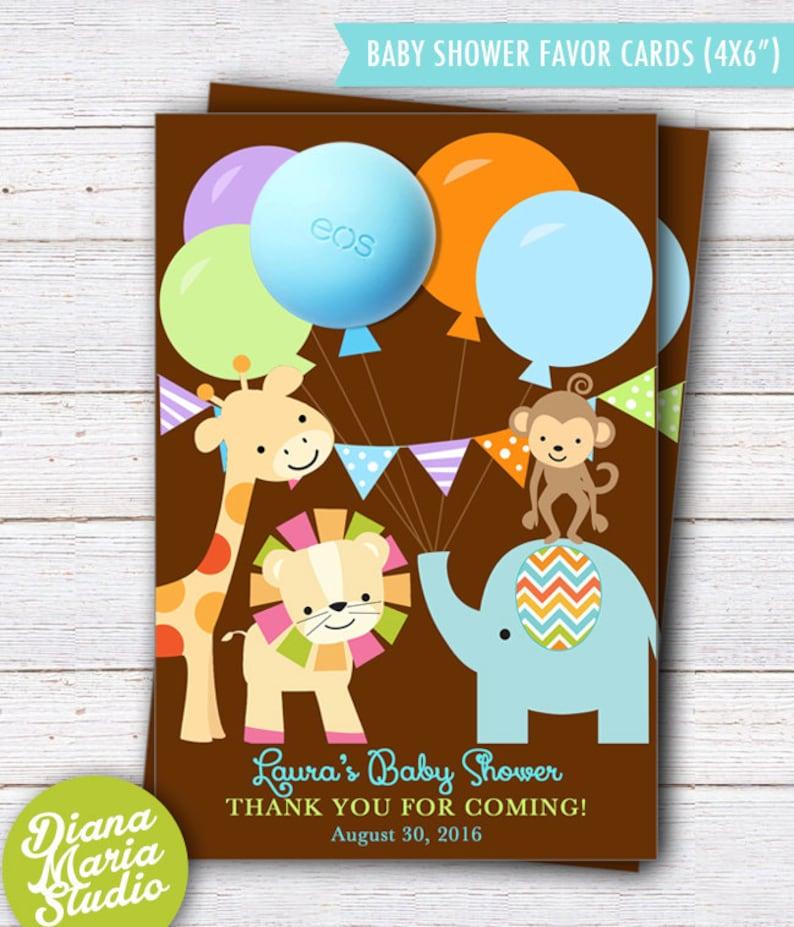 Favor Card Template Safari Baby Shower Theme PRINTABLE Safari Baby Shower Favors EOS lip balm