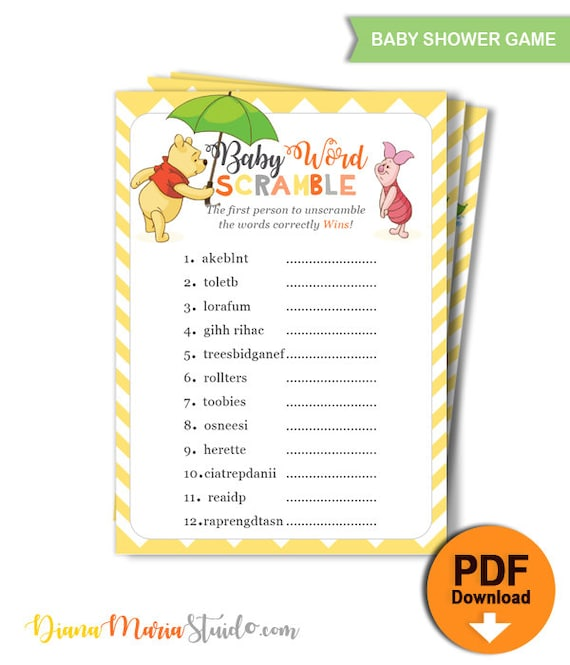 Printable Winnie The Pooh Game Baby Shower Baby Word Scramble Instant Download