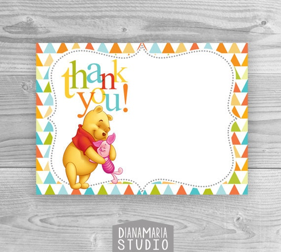 Baby Shower Thank You Cards Printable Winnie The Pooh Birthday Etsy