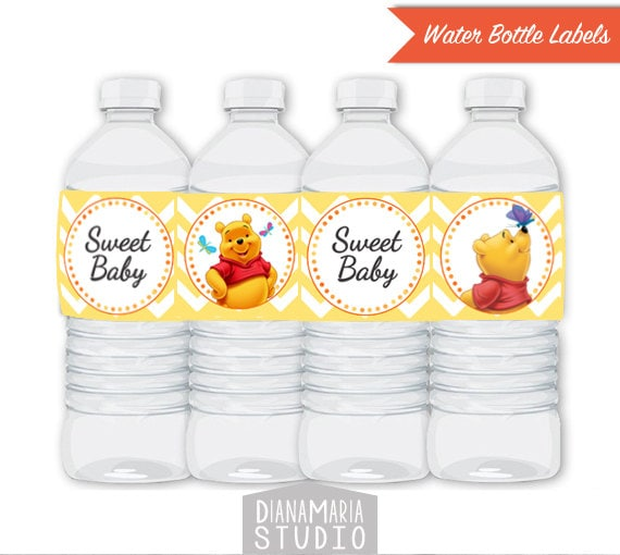 Winnie The Pooh Water Bottle Labels Printable Baby Shower Decorations Instant Download