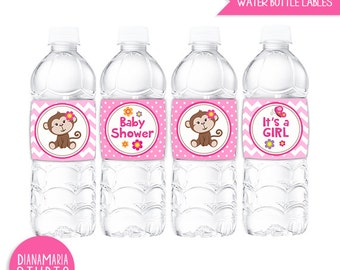 Girl Monkey Baby Shower Water Bottle Wrappers, Labels, - it's a Girl Pink Chevron, Polka dots - INSTANT DOWNLOAD