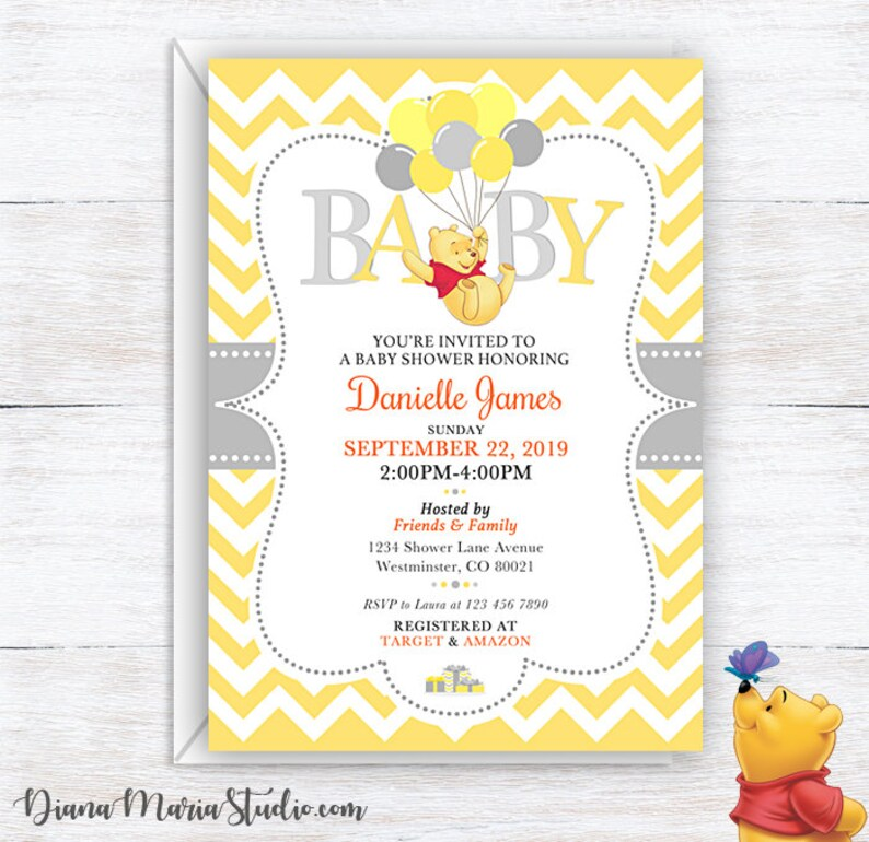 image about Printable Winnie the Pooh Baby Shower Invitations known as Child Shower Invitation Winnie the Pooh - Printable Yellow Chevron invitations - Winnie the Pooh with balloons