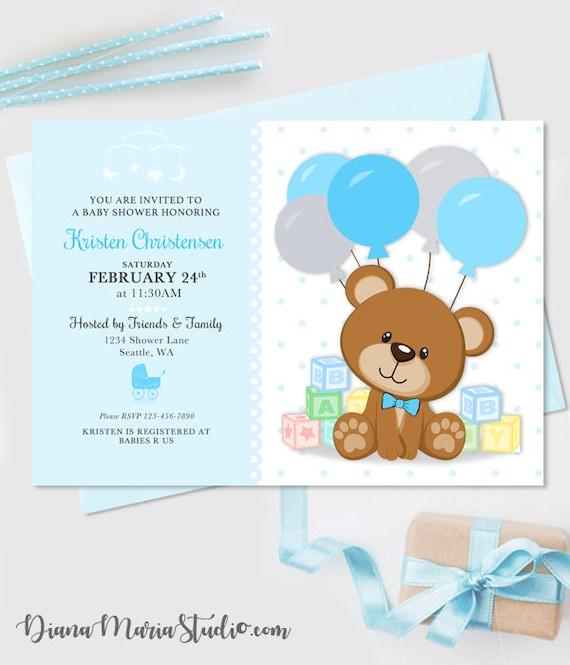 Teddy bear blocks baby shower invitation boy baby shower etsy image 0 filmwisefo