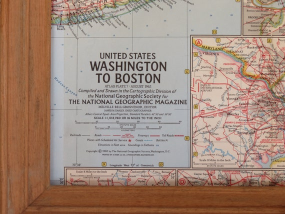 Vintage 1962 National Geographic Map of United States Washington to Boston