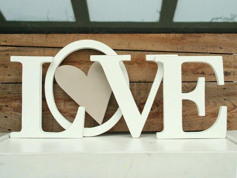 Scritta Love In Legno Stile Shabby E Cuore Nella O Etsy