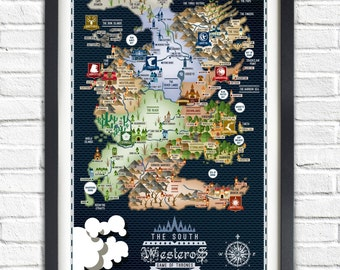 Game of Thrones - The SOUTH - Westeros Map - 19x13 Poster