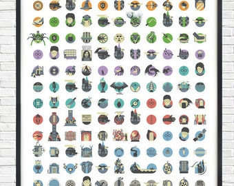 Harry Potter All Films icons- - - A1 - - - Poster - ONLY 1 LEFT